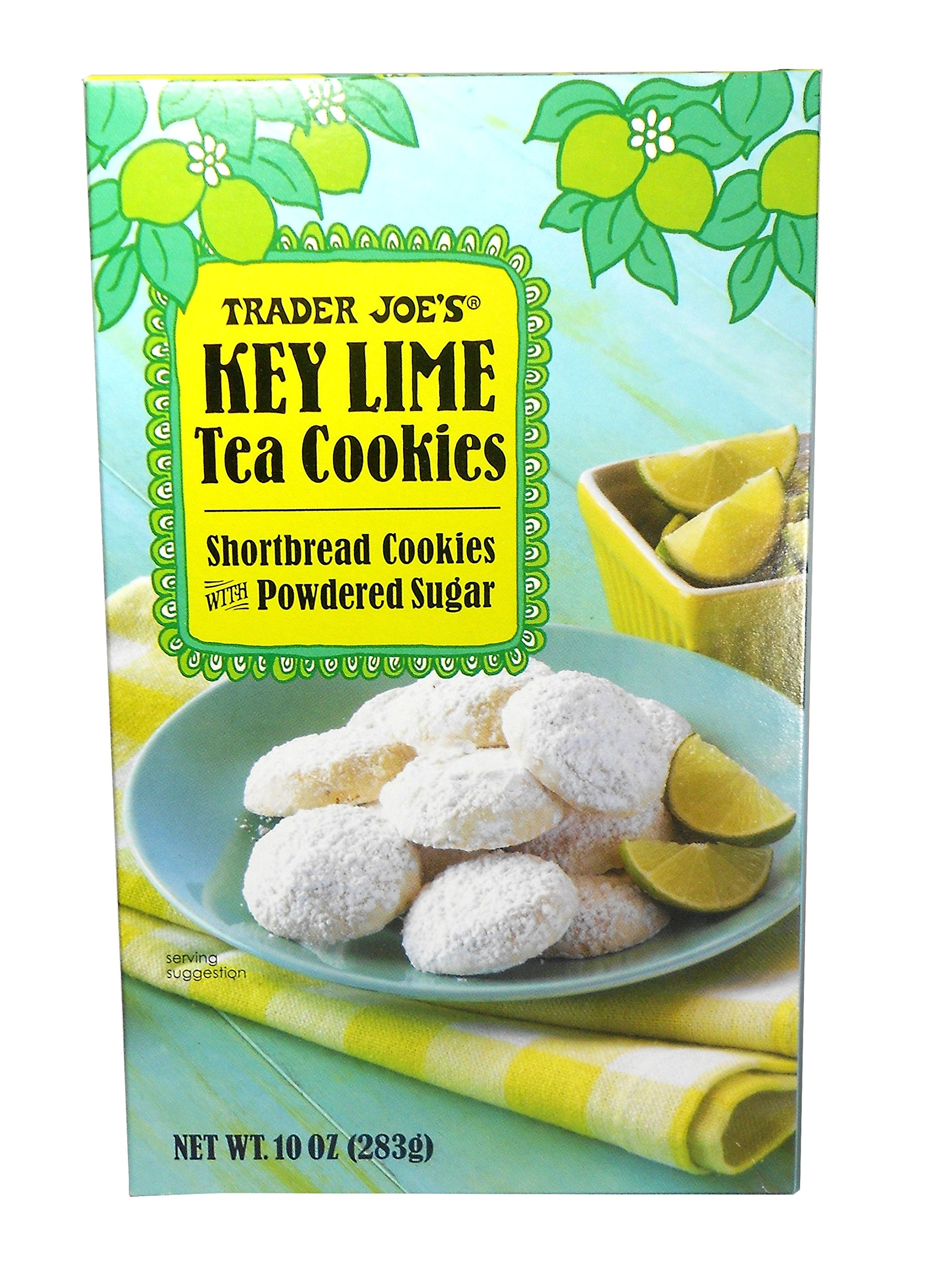 Trader Joe's Key Lime Shortbread Tea Cookies with Powdered Sugar 10 Oz.