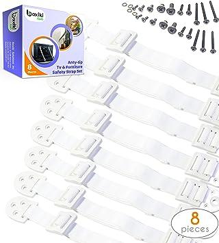 Set ajustable de anclaje antivuelco para muebles. 8 piezas de correas para paredes de seguridad