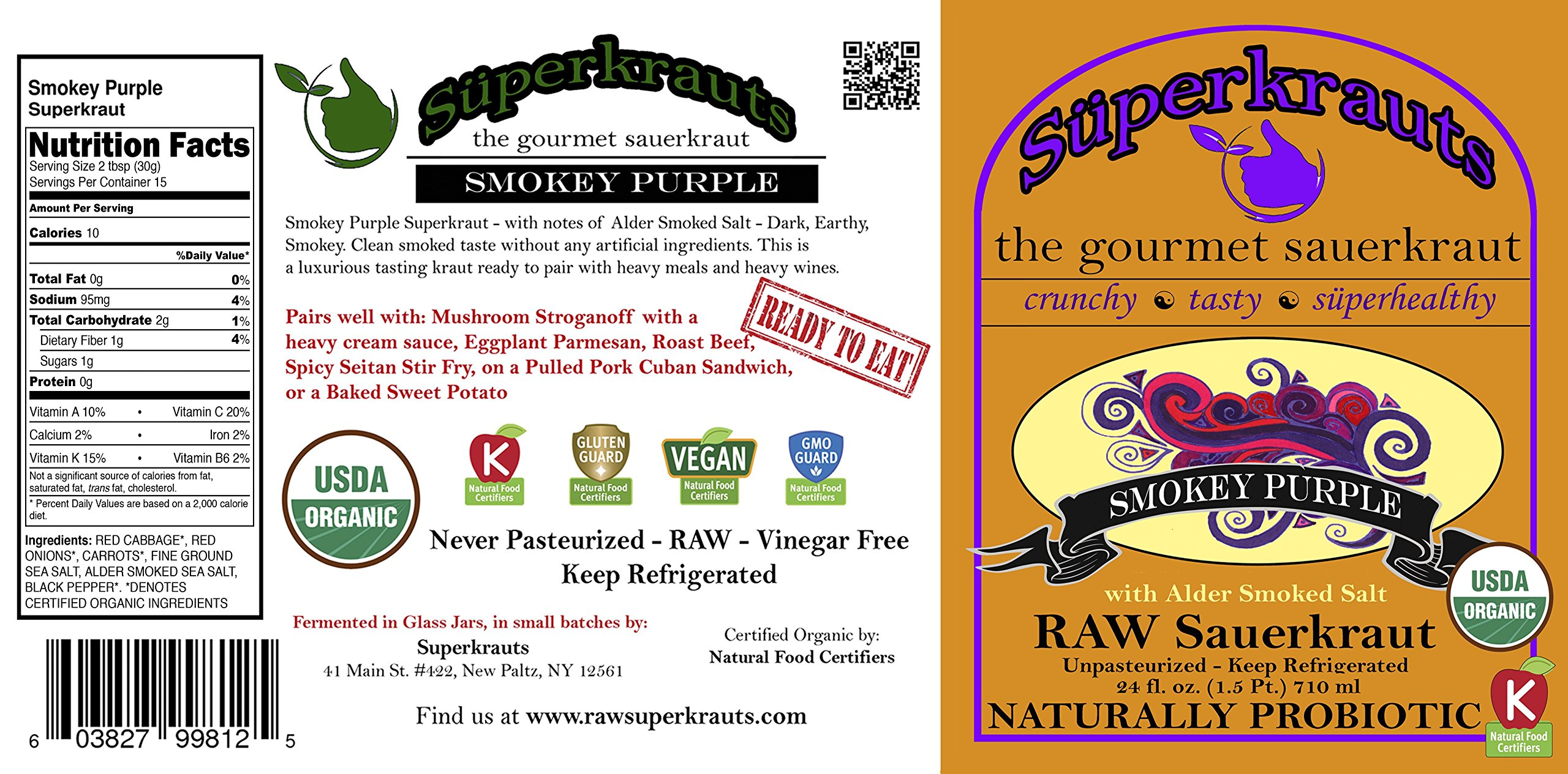 """""""Smokey Purple"""" gourmet sauerkraut: organic, raw fermented, unpasteurized, probiotic, kosher, vegan and gluten free. 24 fl. oz, 16 flavors available. No shipping charges with minimum. by Superkrauts (Image #2)"""