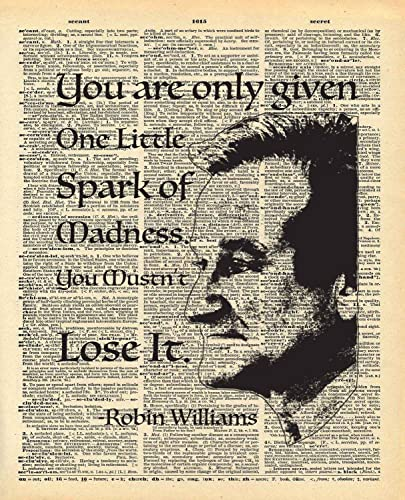 dictionary print robin williams one spark of madness quote vintage dictionary art print 8x10 - Robin Williams Bedroom