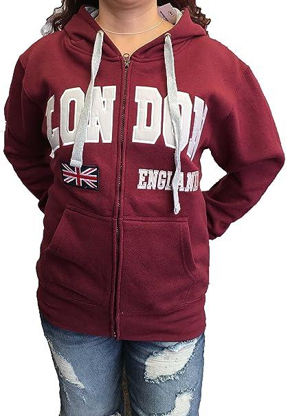 CambridgeStyle Sudadera con Cremallera Bordada Londres con Union Jack, Londres, Inglaterra: Amazon.es: Ropa y accesorios