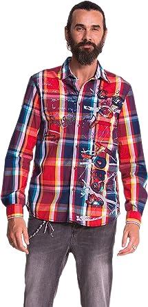 Desigual Cam_Fran - Camisa, con manga larga, con cuello clásico para hombre, multicolor, talla L: Amazon.es: Ropa y accesorios