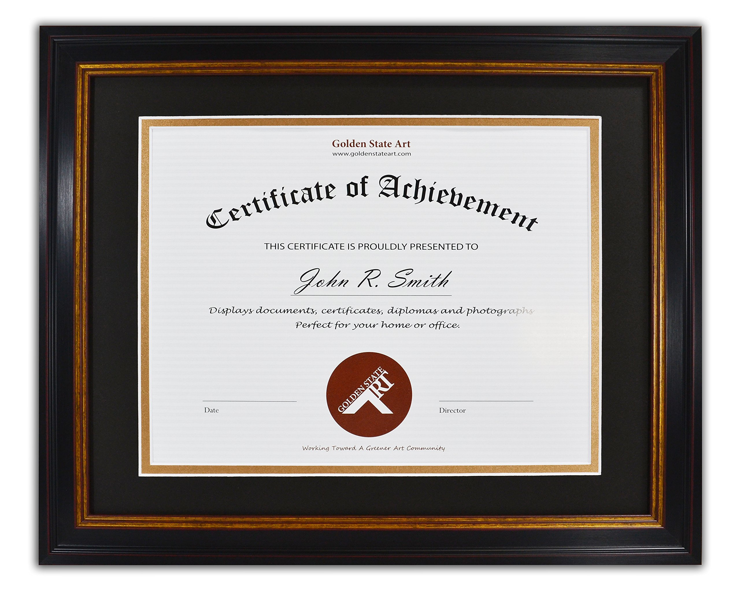 Golden State Art, 11x14 Frame for 8.5x11 Diploma/Certificate, Black Gold & Burgundy color. Includes Black Over Gold Double Mat and Real Glass