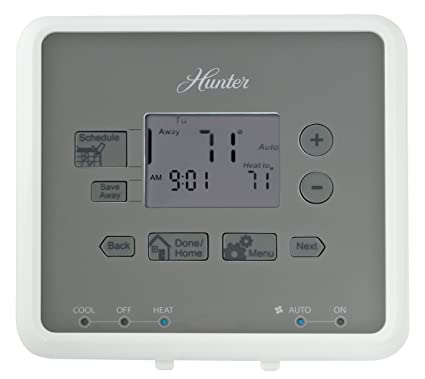 hunter 44132 5 minute 5 2 day programmable thermostat white rh amazon com Hunter Thermostat 44860 Manual Hunter Thermostat 44132 Manual