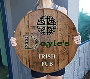 Rustic Wall Decor Personalized Irish Pub Whiskey Barrel Lid Celtic Knot Bar Decor for Home Wall Art Gift Man Cave Wall Decor Natural Wood Brown 22 inch Wall Decor