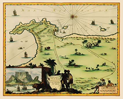 Amazon.com: Old Africa Map - Cape of Good Hope, South Africa ...