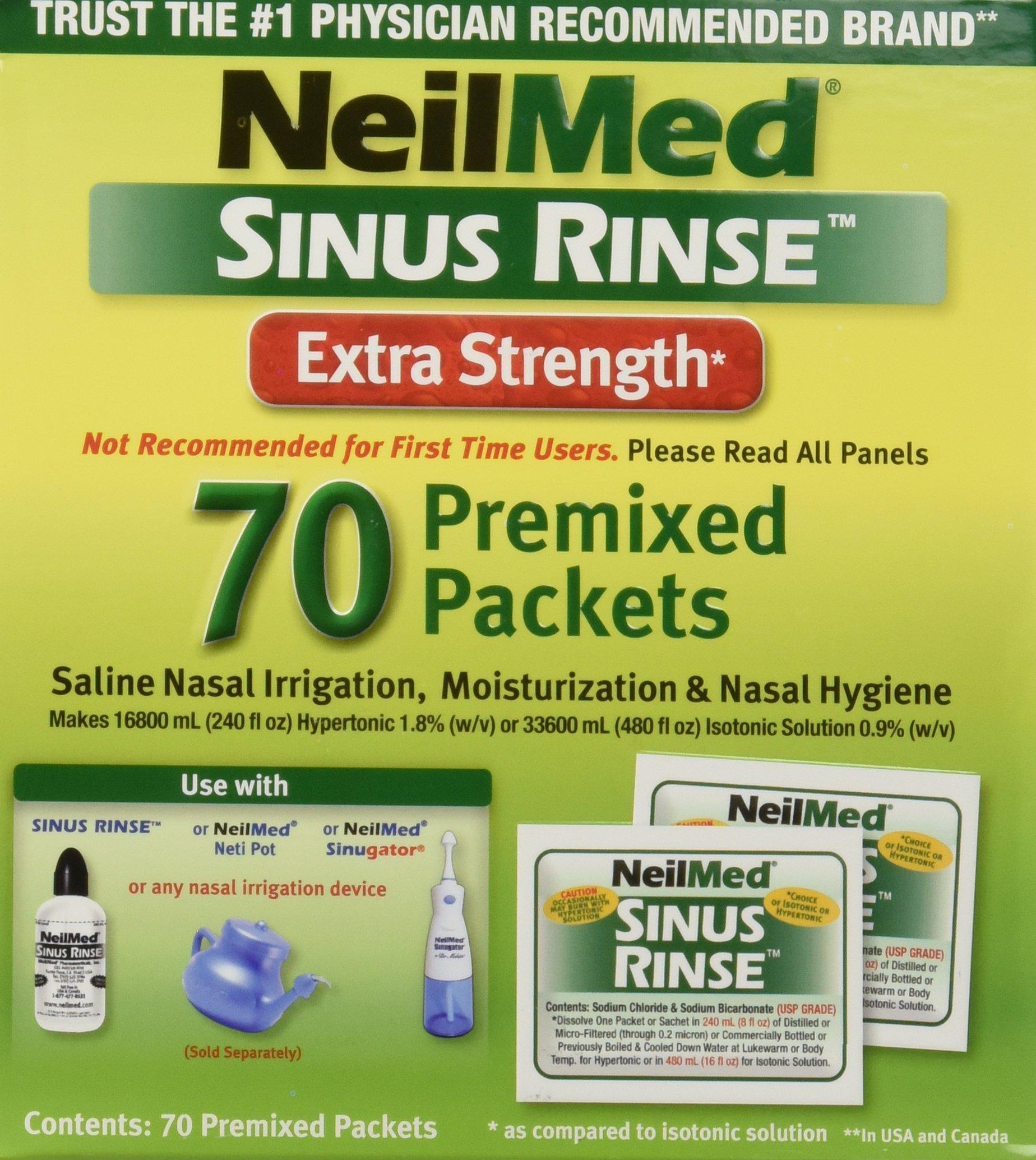 NeilMed Sinus Rinse Extra Strength Hypertonic 70 Packets