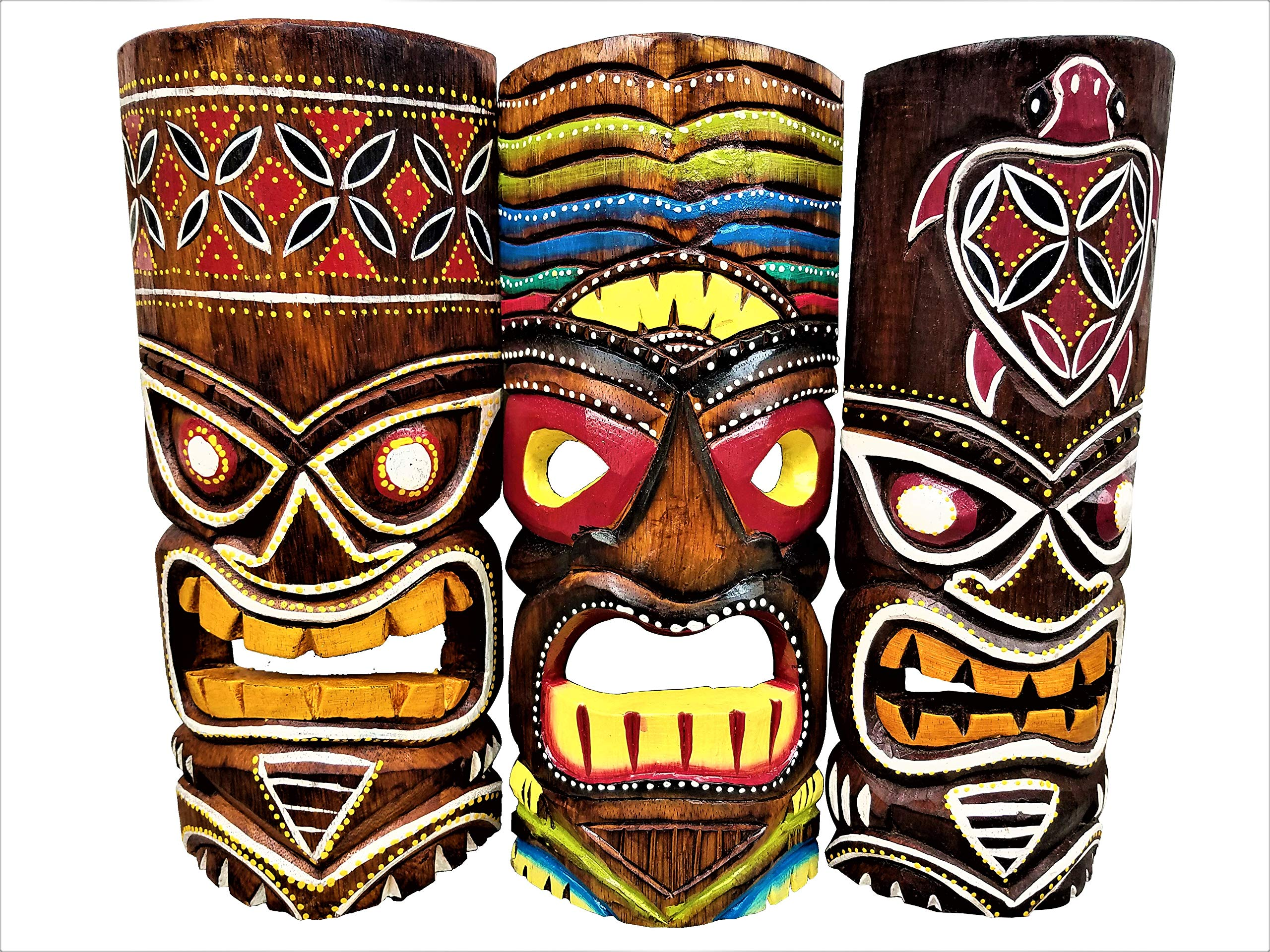 Set of (3) Wooden Handcarved 12'' Tall Tiki Masks Tropical Wall Decor! by All Seas Imports