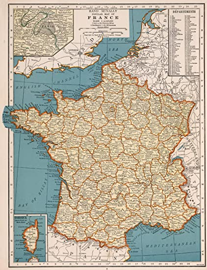 Map Of France Poster.Amazon Com Map Poster Rand Mcnally Popular Map Of France 17 X 22