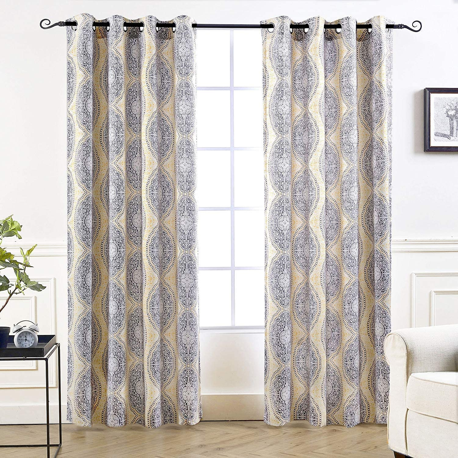 DriftAway Adrianne Damask Floral Pattern Thermal Room Darkening Grommet Unlined Window Curtains Set of 2 Panels Each 52 Inch by 84 Inch Yellow and Gray