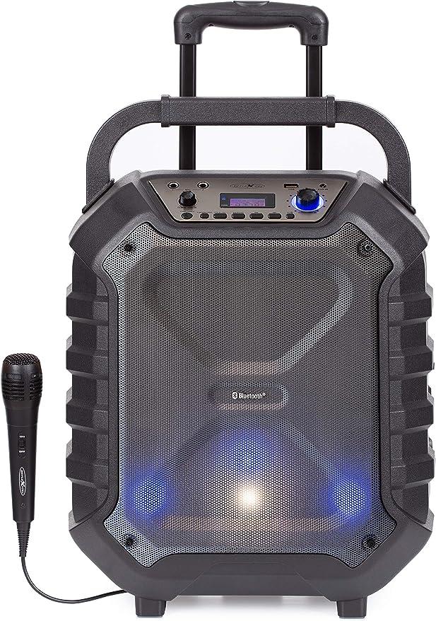 Reflexion Dj900bt Kompakte Pa Anlage Mobil Mit Akku Lichteffekten Und Karaoke Funktion Bluetooth Usb Aux Mikrofon 400 Watt Schwarz Audio Hifi