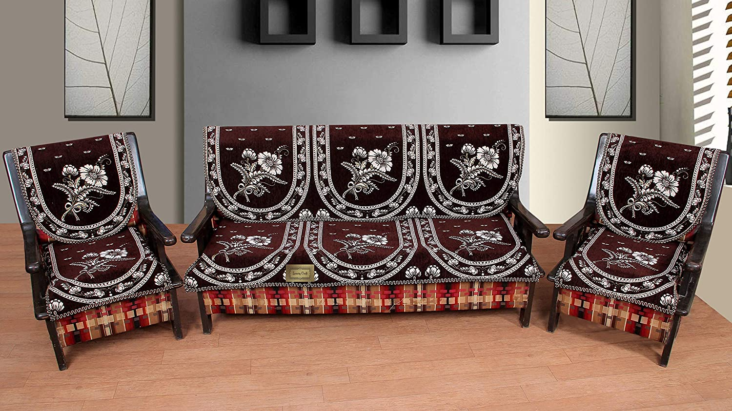 Luxurious Cotton Sofa Cover 5 Seater - Set of 6