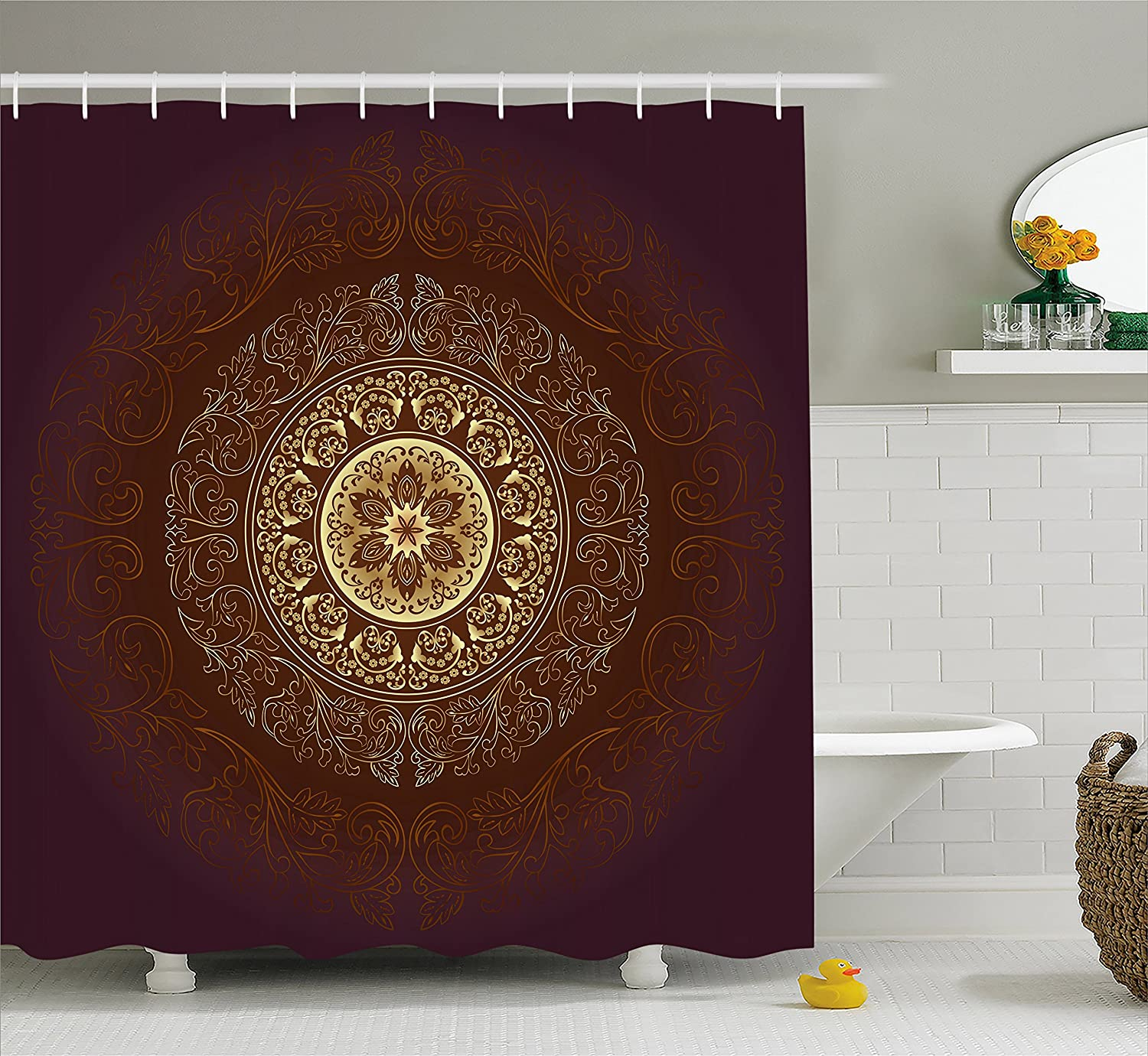 Ambesonne Ancient Shower Curtain European Landmark Traveller Tourist Cities Italy France Spain Sketchy Image 70 Inches Fabric Bathroom Decor Set with Hooks Brown Cream
