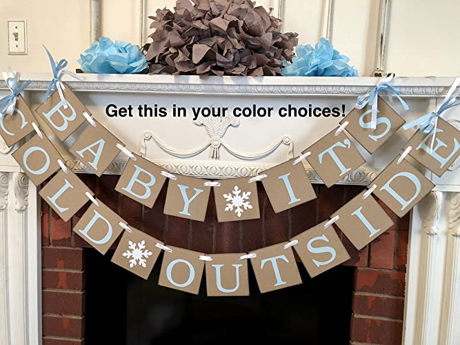Amazoncom Baby Its Cold Outside Baby Shower Banner Rustic Winter