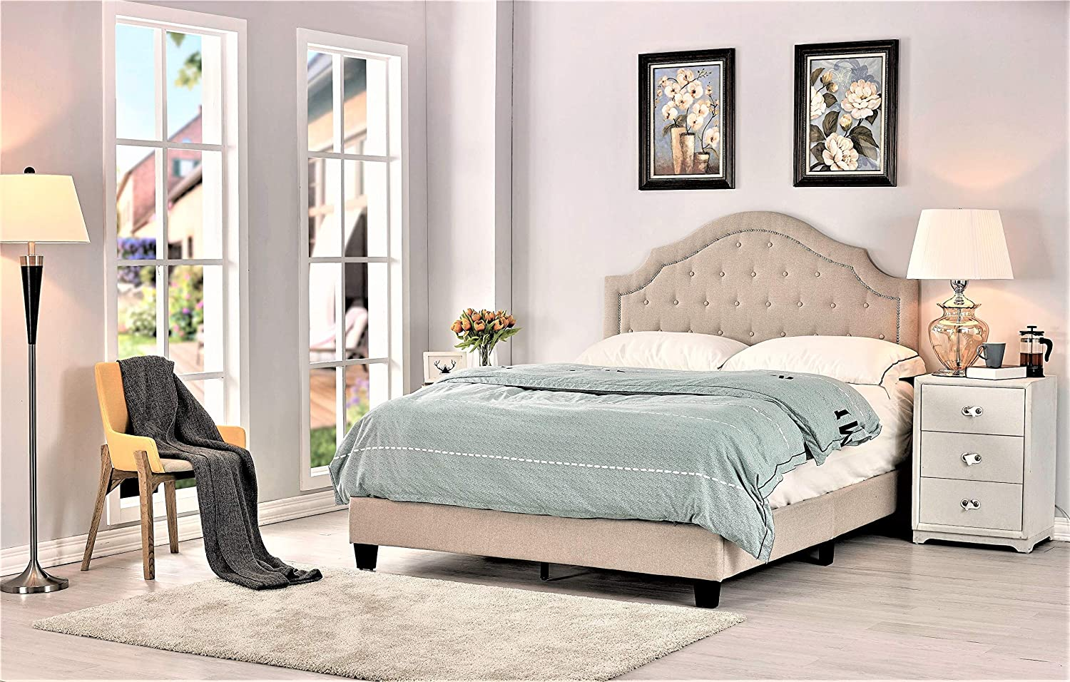 Container Furniture Direct Sklar Ultra Modern Button Tufted Upholstered Panel Bed, 82.70
