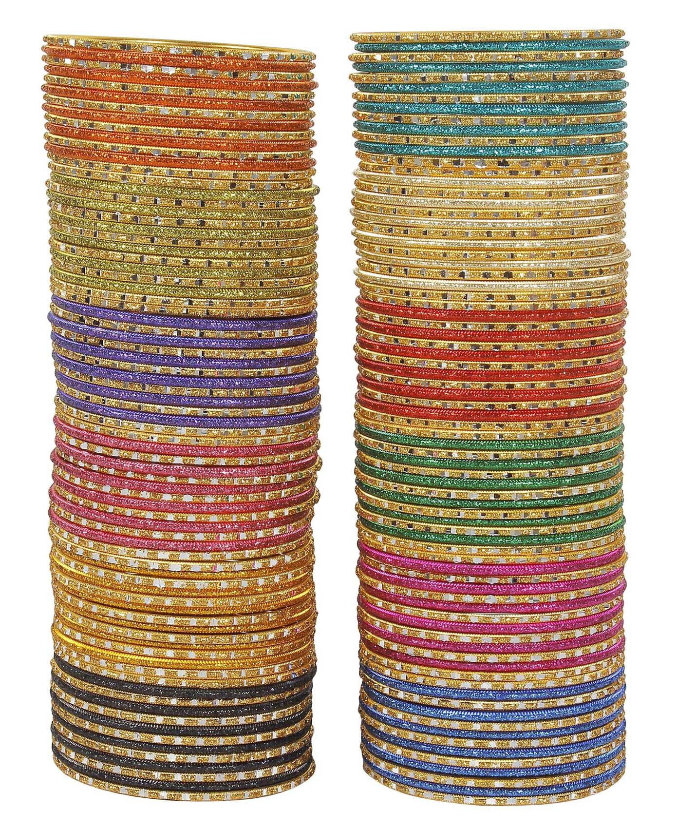 MUCH-MORE Glamorous Bollywood Fashion Indian Bangles Box Multi Color Party wear Bangles Jewelry (71, 2.6)