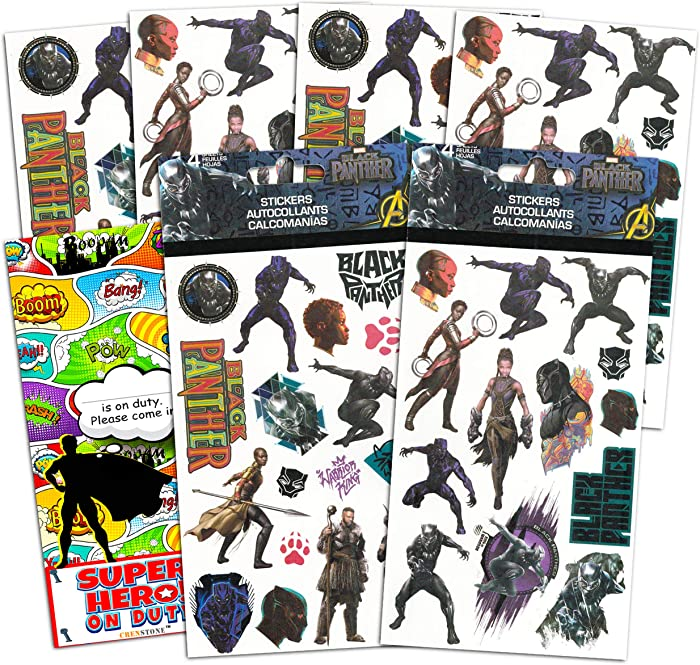 Marvel Black Panther Stickers Party Supplies Pack ~ Over 120 Black Panther Stickers with Separately Licensed Door Hanger (8 Black Panther Party Favors Sticker Sheets)
