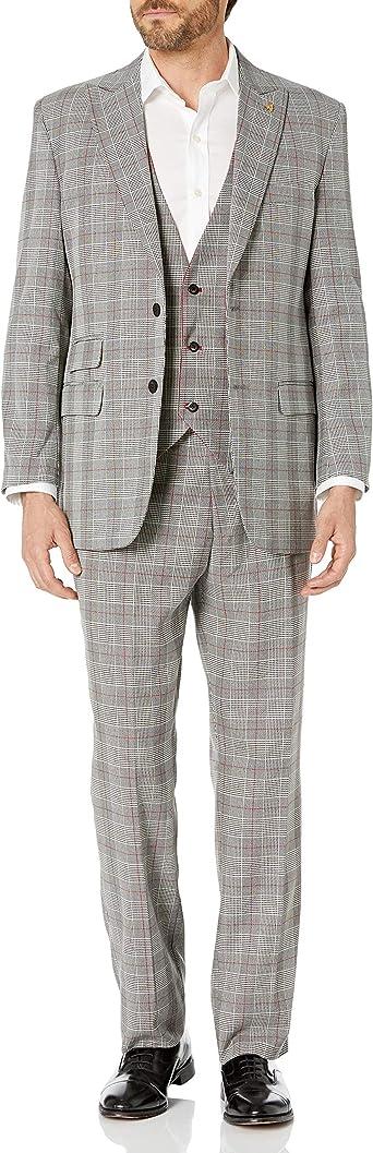 STACY ADAMS Mens 3 Pc Modern Fit Suit