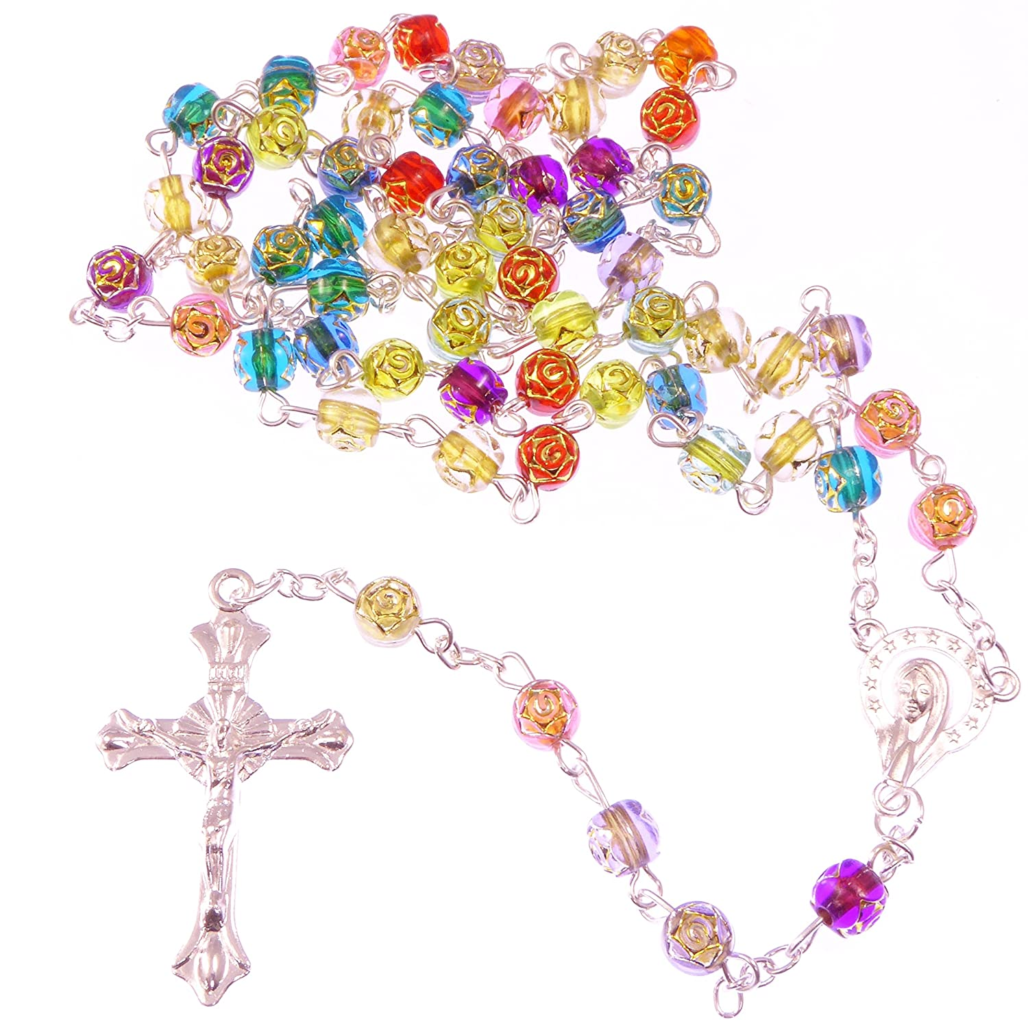 Christian long rainbow flower multi-coloured rosary beads