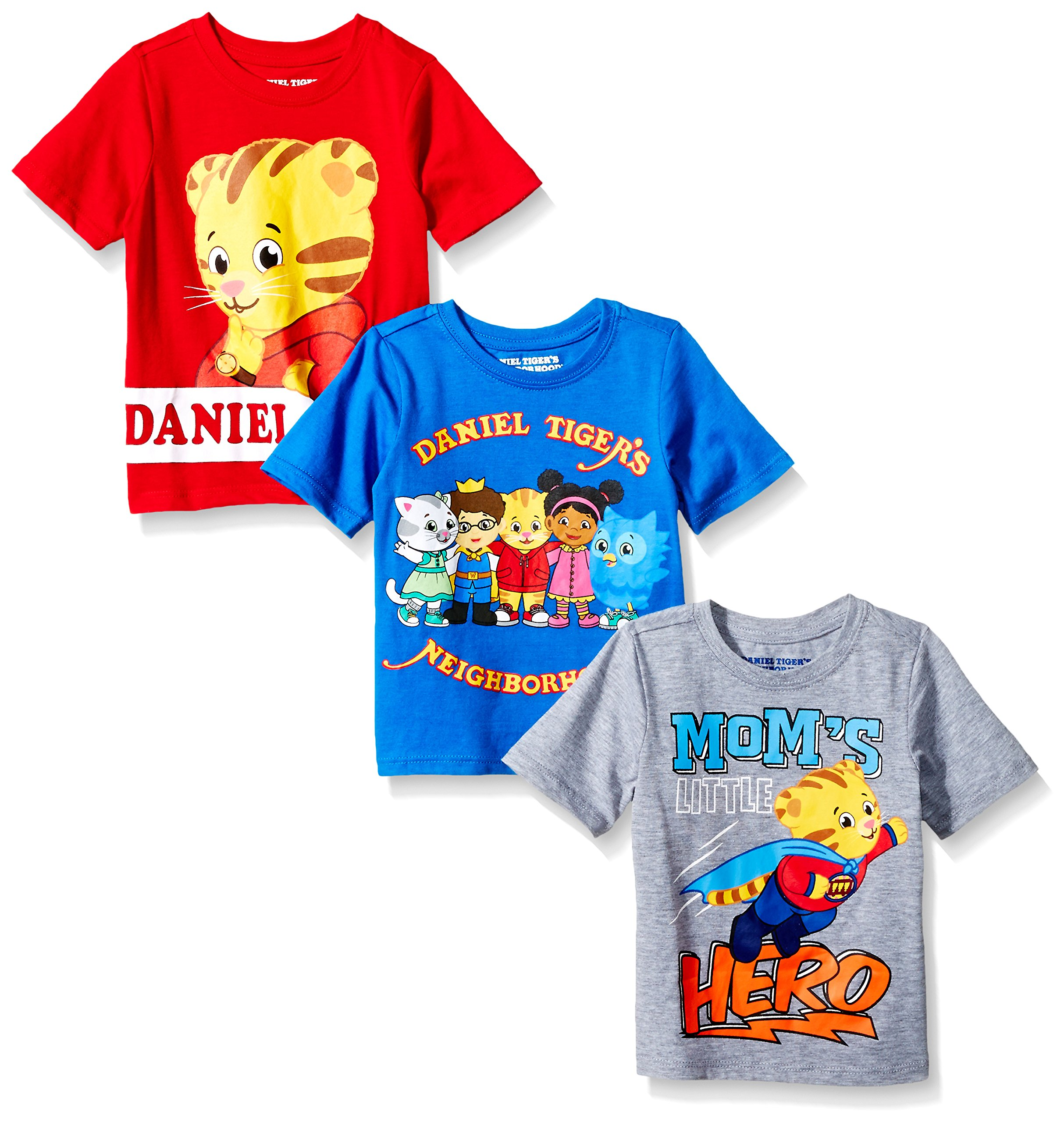 Daniel's Tiger Neighborhood Boys' Toddler Daniel 3 Pack Tee Shirts, Multi, 3T