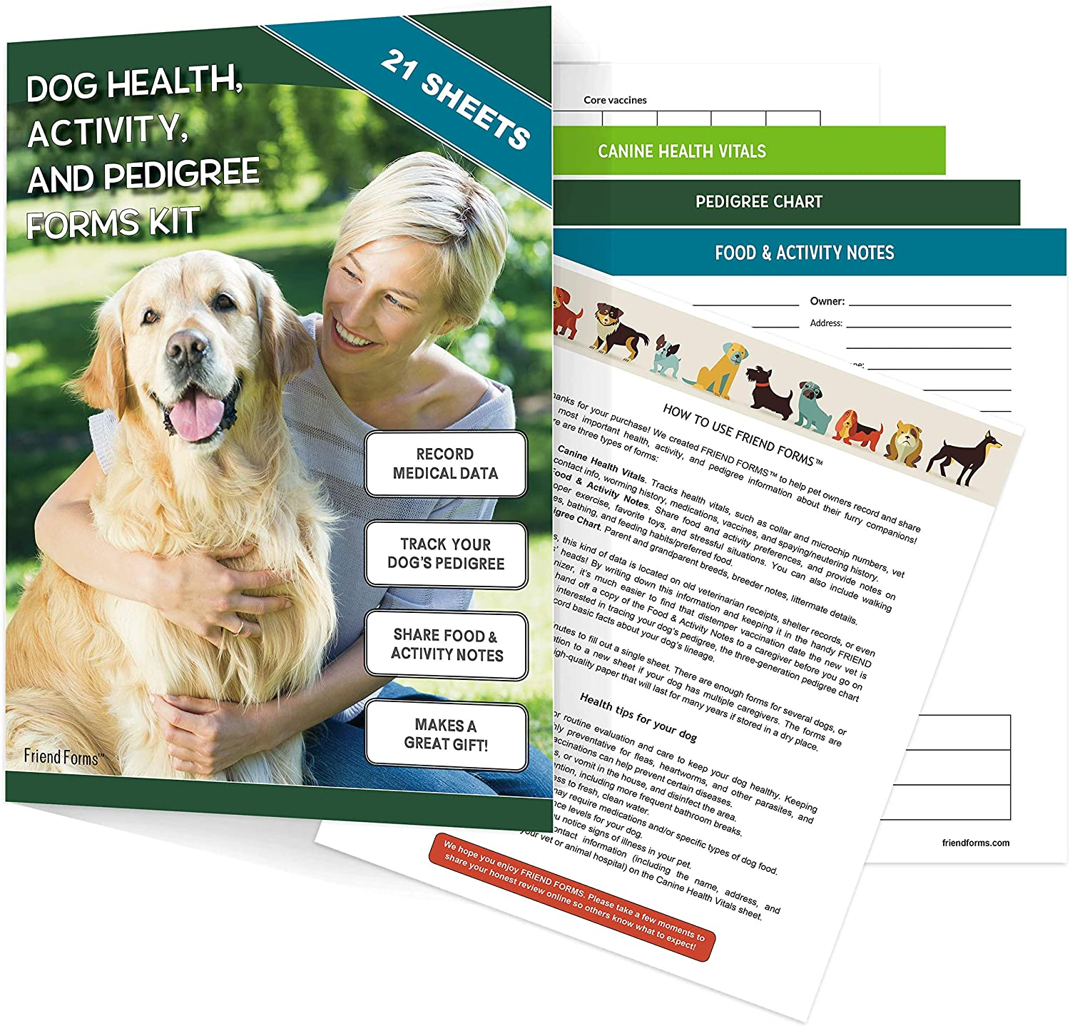 Dog Health, Activity, and Genealogy Forms Kit (21 Sheets) | Track Vet Visits, Favorite Foods, and Breeding History