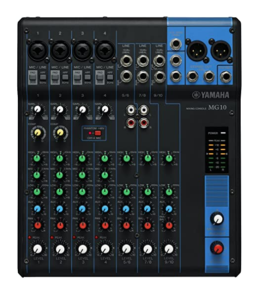 34 opinioni per Yamaha MG10 Mixer Analogico, 10 Ingressi, Nero/Blu