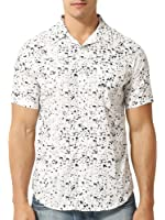 Mens Retro Button Up Short Sleeve White Casual Shirt with Black Splatter Pattern