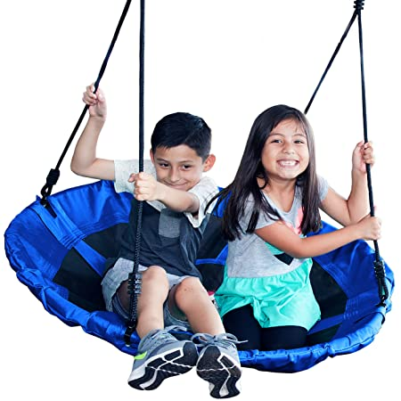 Jump Frog USA GIANT 40 ORIGINAL SAUCER TREE SWING by, Holds 400 lbs, Quality Weather Resistant Fabric, Easy to Assemble Step by Step Directions, Year Round Outdoor Fun, Pick Your Color Royal Blue