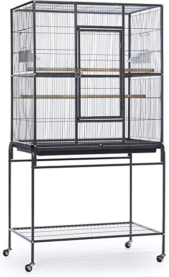 Prevue Pet Products Wrought Iron Flight Cage With Stand Black Hammertone Pet Supplies