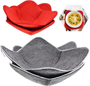 4 Pieces 2 Sizes Bowl Huggers Sponge and Microfiber Microwave-Safe Hot Bowl Holder to Keep Your Hands Cool and Your Food Warm for Soup Bowls, Rice and Pasta Bowls (Red, Gray)