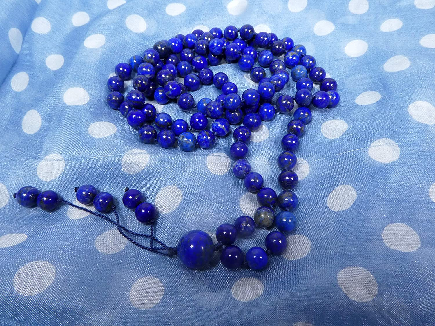 Highest Quality Knotted Mala 108 + Guru Bracelet with 6.5-mm Beads and a Beaded Tassel 2354 Necklace Lapis Lazuli AAA**