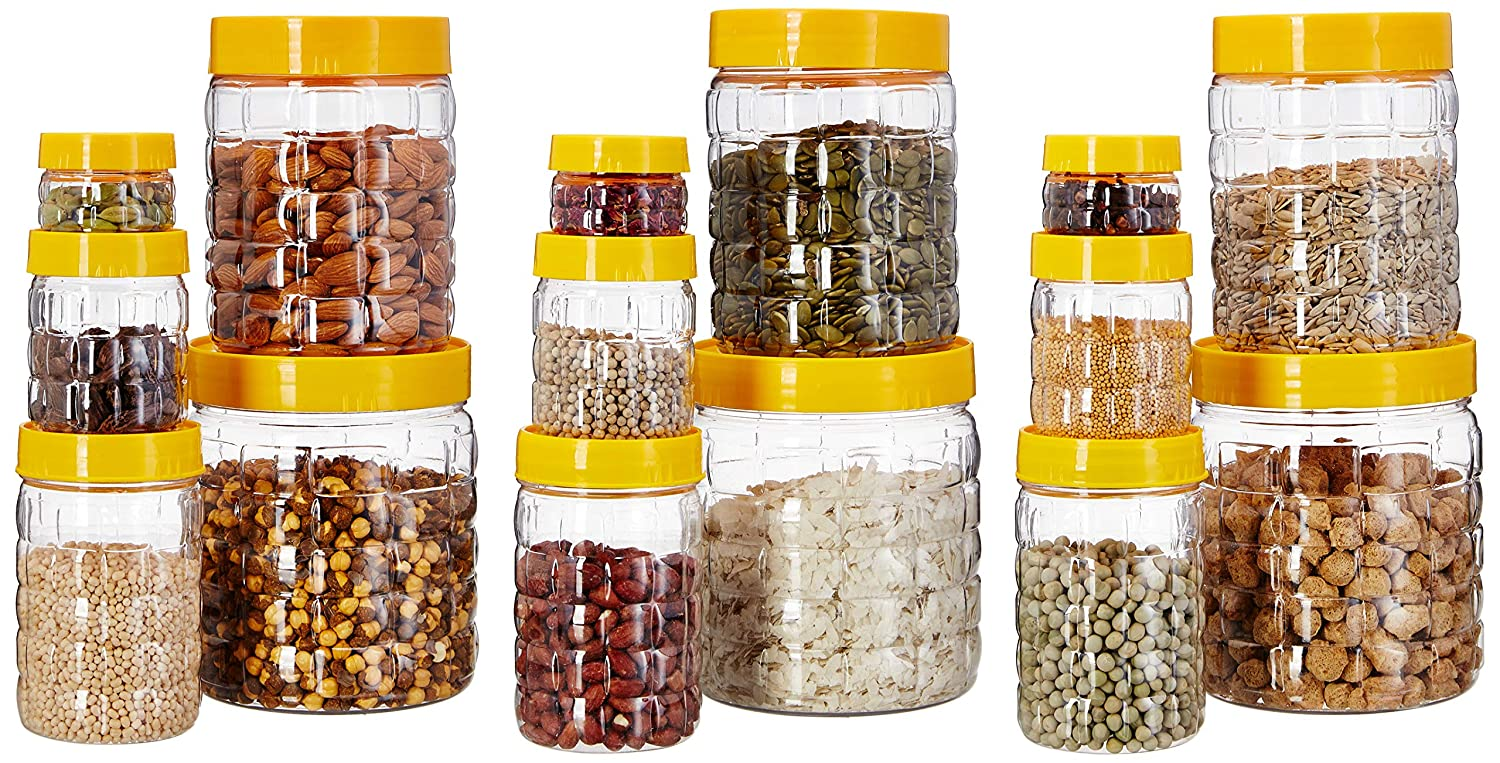 Amazon Brand - Solimo Plastic Storage Container Set with Wide Mouth (15 pieces, Checkered Pattern, Large size)