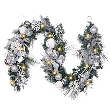 Valery Madelyn Pre Lit 72 Inch Frozen Winter Silver White Christmas Garland With Shatterproof Ball Ornaments And Accessories Eg120 Mc17041 72x55 20d