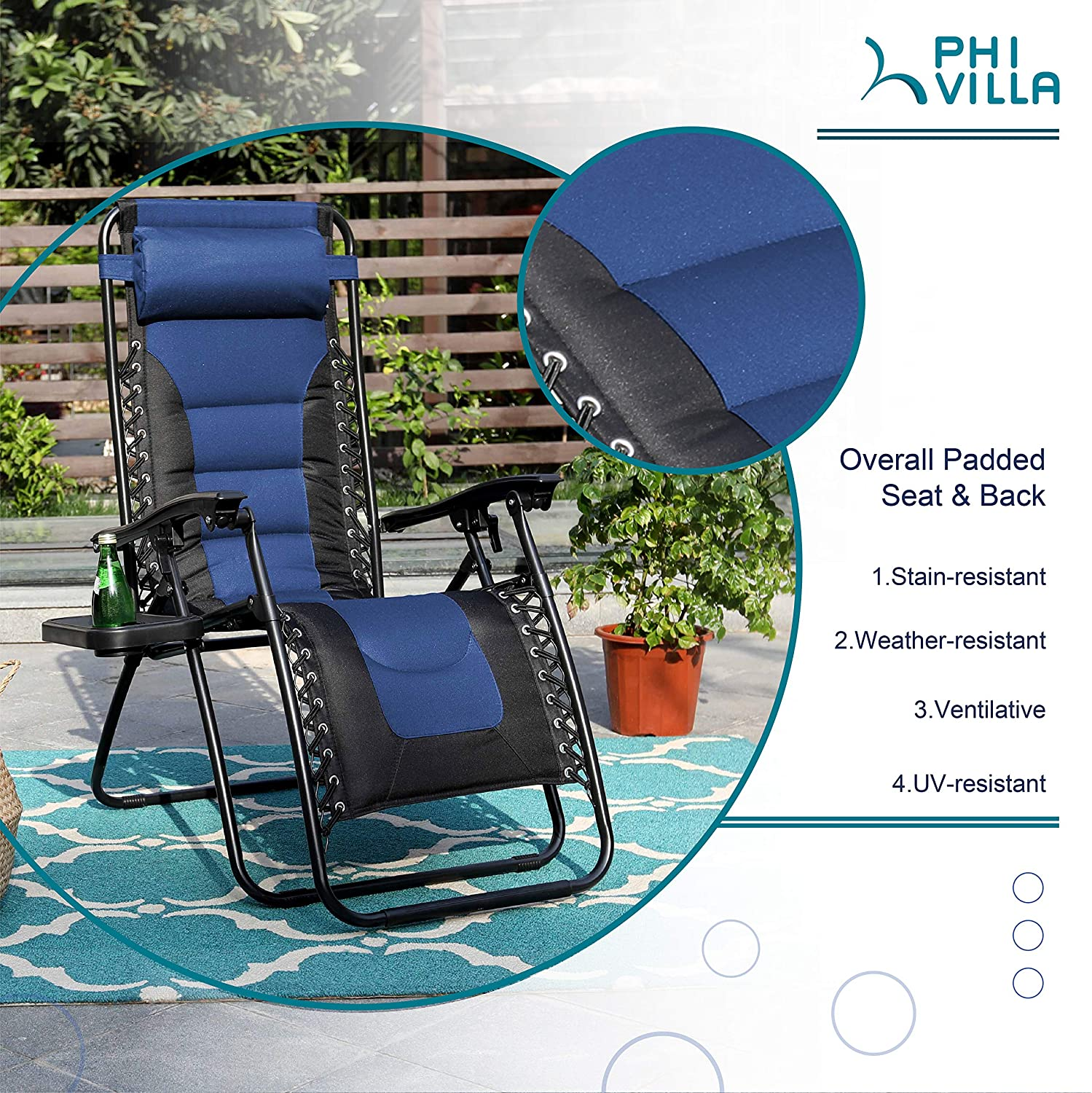 PHI VILLA Zero Gravity Chair Padded Recliner Adjustable Lounge Chair with Free Cup Holder Blue