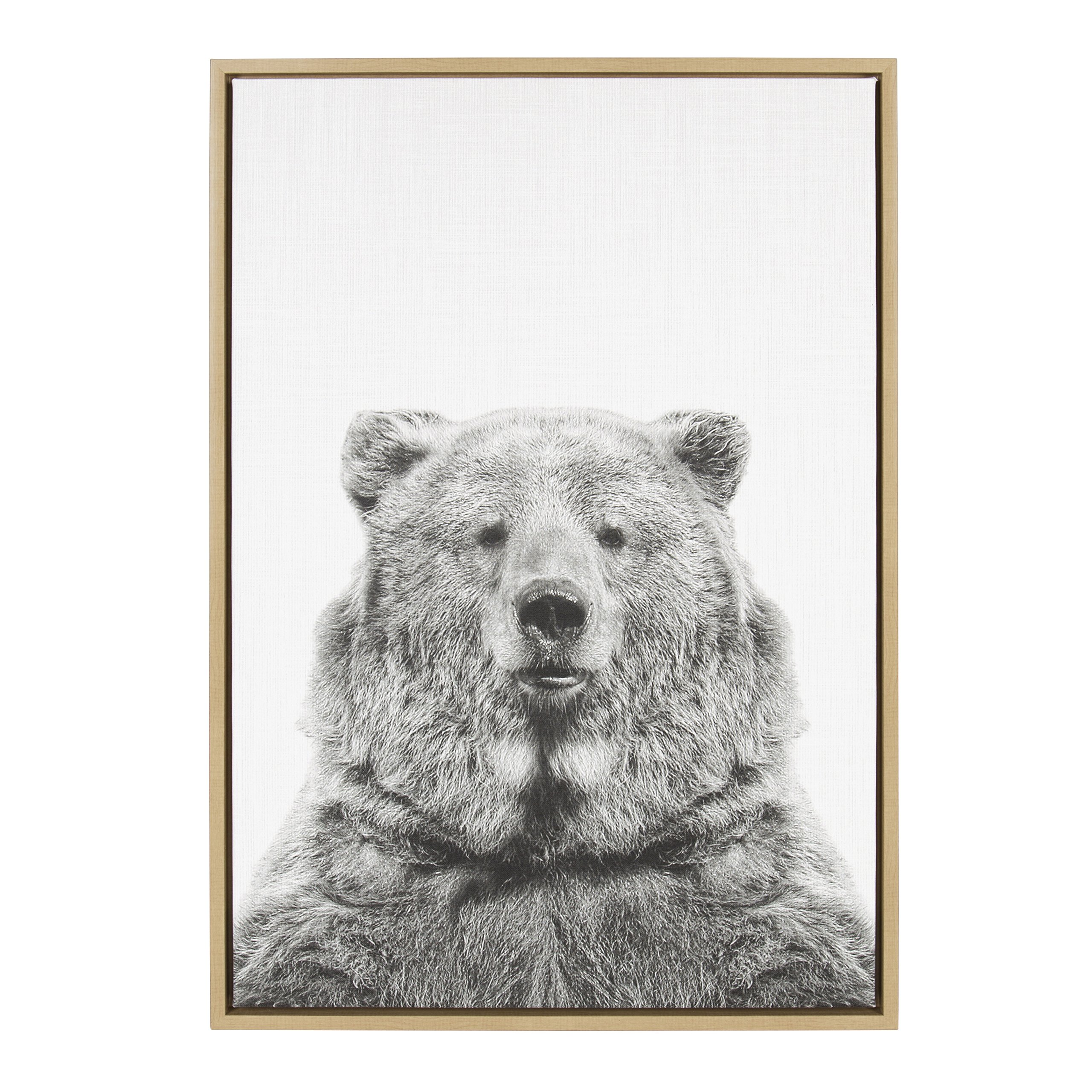 Kate and Laurel - Sylvie Bear Animal Print Black and White Portrait Framed Canvas Wall Art by Simon Te Tai, Natural 23 x 33