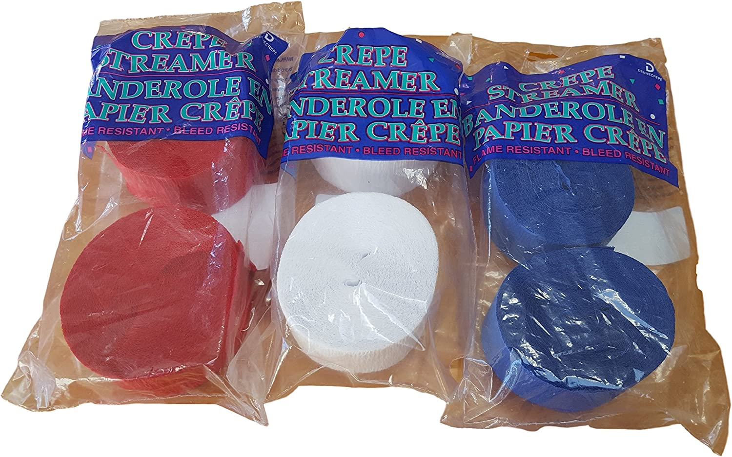 Patriotic Red White And Blue Crepe Paper Streamers 6 Rolls 435 Feet Total Made in USA