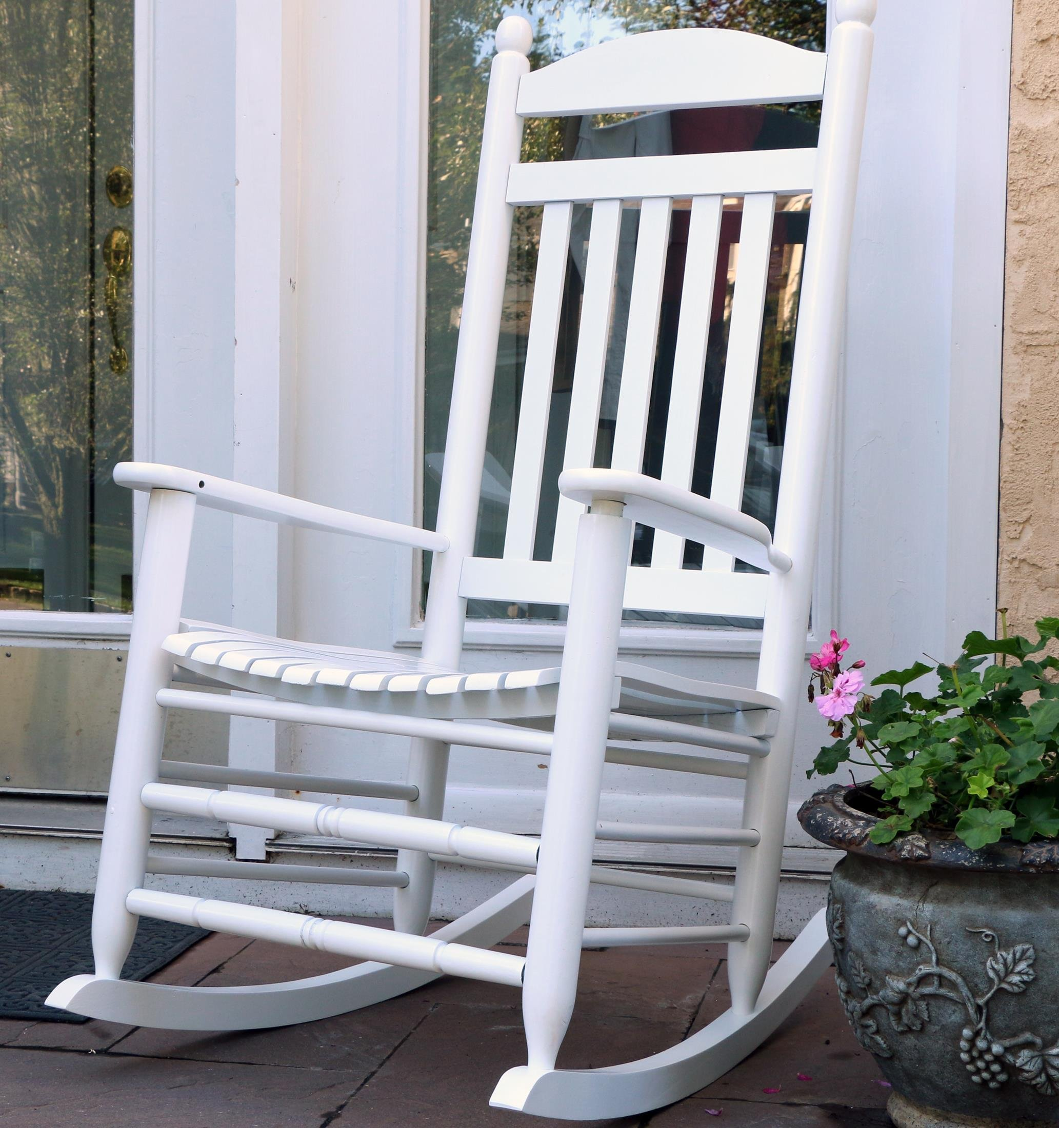 LIFE Home Oliver and Smith - Nashville Collection - Heavy Duty Wooden White Patio Porch Rocker- Rocking Chair - Made in USA - 26'' W x 34'' D x 47'' H - 400 LBS
