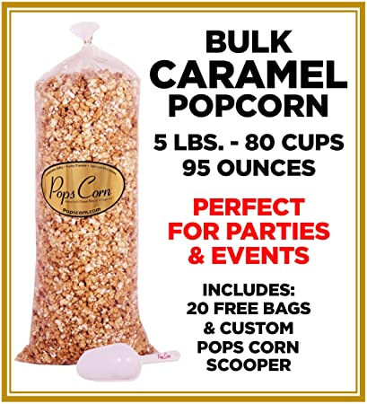Gourmet Pops Corn BULK/WHOLESALE CARAMEL POPCORN- 5 GAL-80 CUPS-95 OZ-  FREE