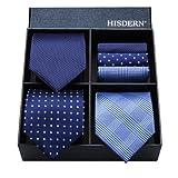 (ヒスデン) HISDERN 洗える ネクタイ 3本セット メンズ ビジネス用 ネクタイ ハンカチ セット 結婚式 ネクタイ プレゼント 高級 ギフトボックス付き