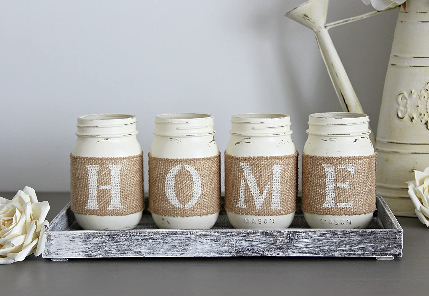 Amazon.com: Rustic Decorative Jars with Wooden Tray as a ...