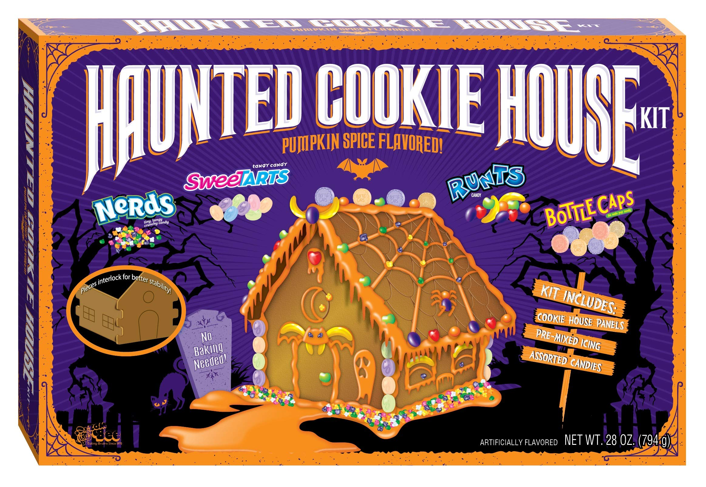Halloween Wonka Haunted Cookie House Kit - Pumpkin Spice Flavored, 28 ounces by Bee International