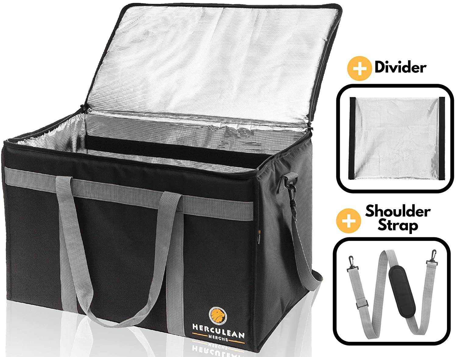 Commercial Large Premium Food Delivery Bag w/Divider | Thermal Insulated to Keep Cold or Hot Food | Durable Heavy Duty | Ideal for Catering Transport, Grocery Carrier, Ubereats, Doordash, Grubhub