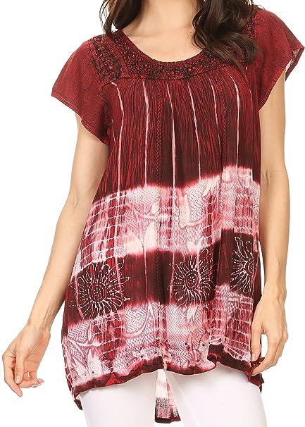 ... Layleka Largo del Tinte del Lazo del Batik Ombre Bordado de Lentejuelas con Cuentas Blusa de La Camisa Top - Borgoña - Os: Amazon.es: Ropa y accesorios