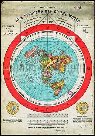 carte de la terre plate Terre Plate   Carte du Monde   Gleasons New Standard Map of World