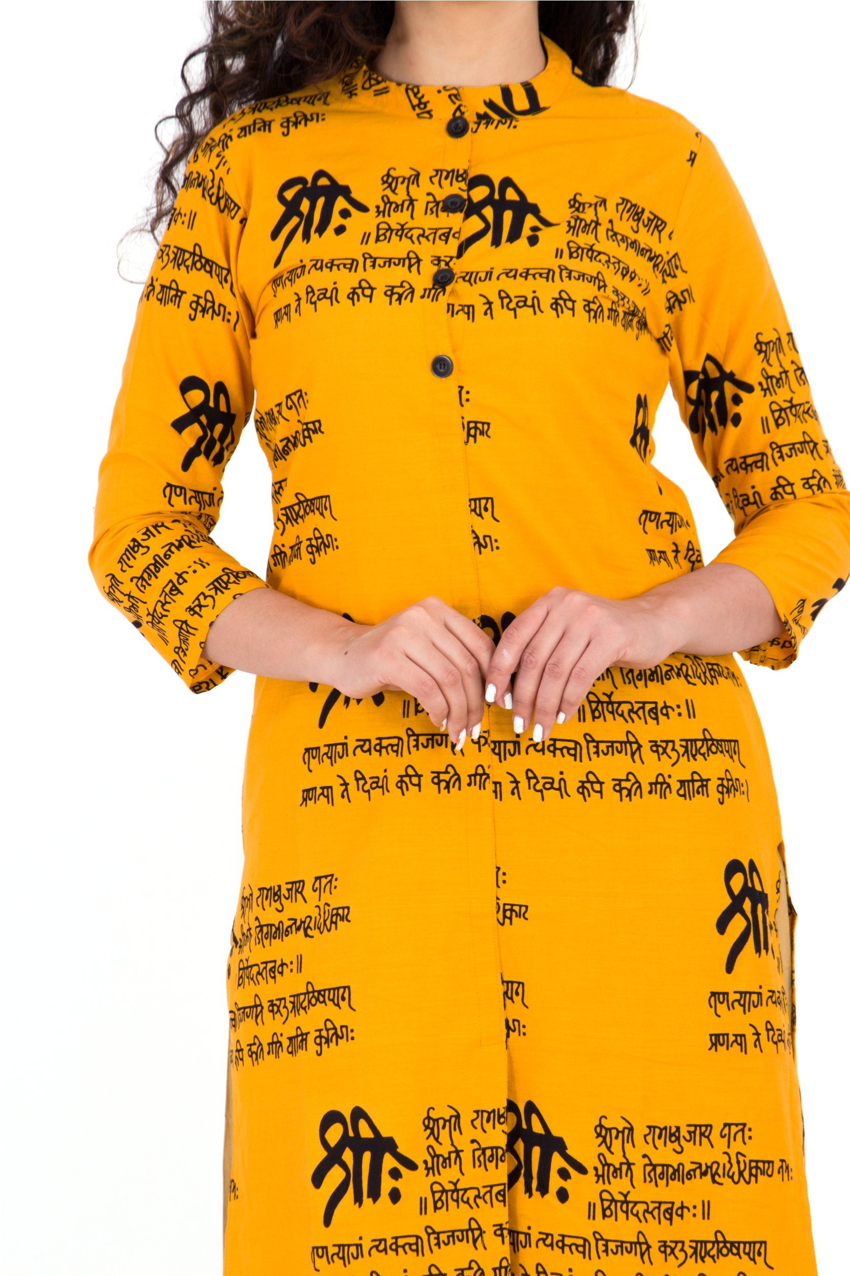 BrightJet Printed Yellow Wooden Button Cotton Women Fashion FrontSlit Kurti Straight fit Kurta Top Tunic Party Dress (XL) by BrightJet (Image #4)