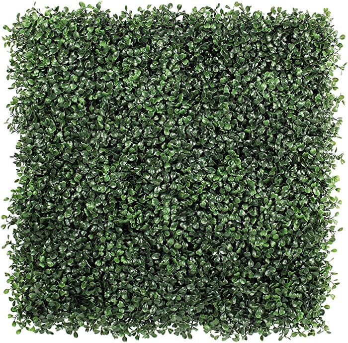 "ULAND 12Pcs Pack 20"" by 20"" Size Artificial Faux Hedges DIY Panels, Boxwood Greenery Ivy Privacy Fence Landscaping Screening Green Wall, for Home Garden Balcony Outdoor Indoor Decoration"