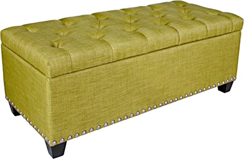 angelo HOME Kent Button Tufted Storage Bench Ottoman, Green Bamboo Twill