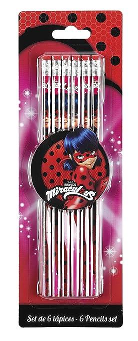 Lady Bug Miraculous Ladybug Set de 6 lápices Marinette Color Rosa 25 cm SAFTA 311712781: Amazon.es: Juguetes y juegos