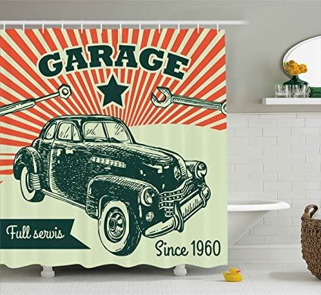 Amazon.com: Cars Shower Curtain by Ambesonne, Retro Car and Garage ...