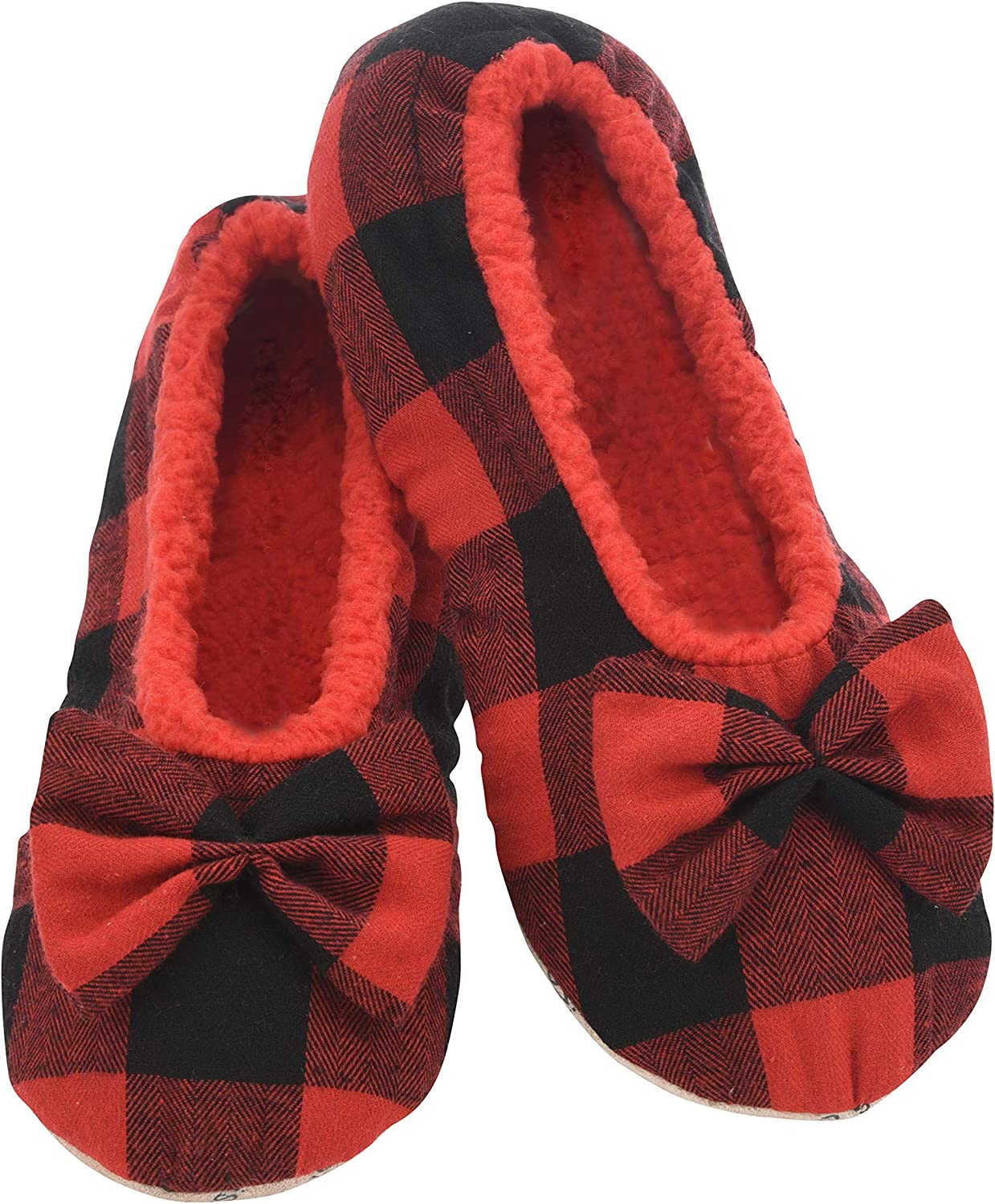 Snoozies Slumbies Slippers for Women Fuzzy House Slippers for Women Buffalo Plaid Ballerina Womens Slippers Lightweight Slippers